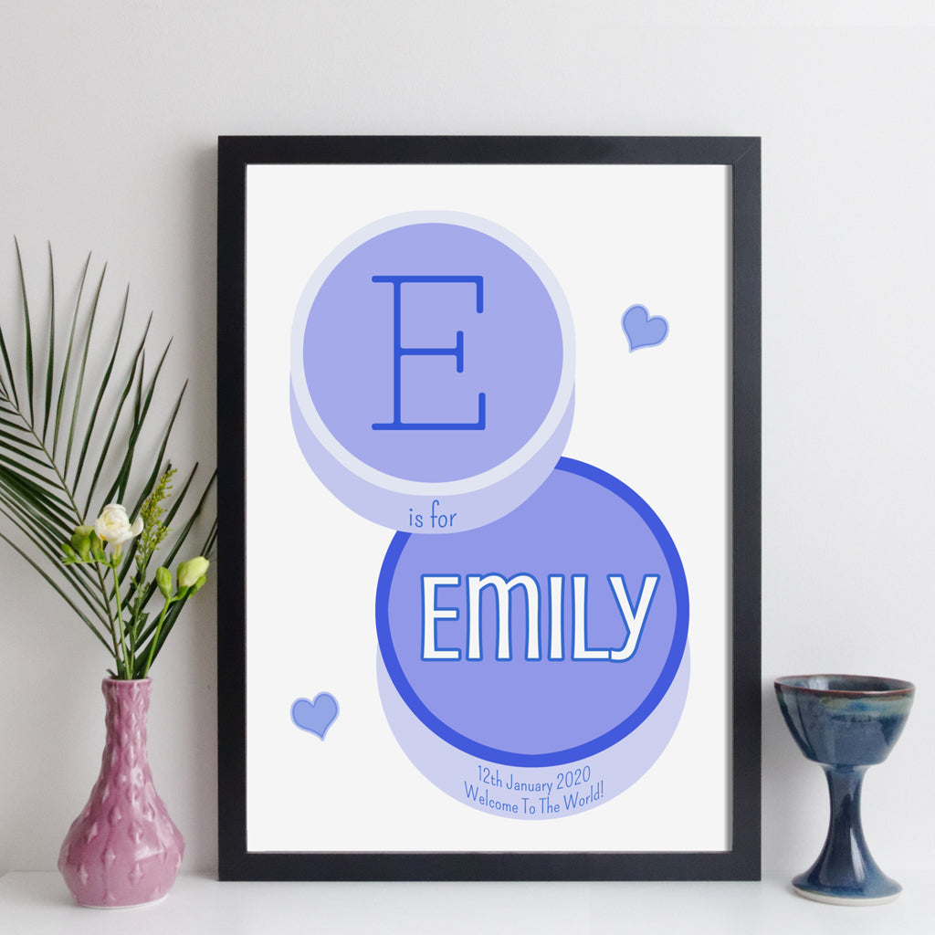 Personalised Initial And Name Print (Contemporary Style)