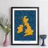 Personalised UK Map Print (Grid Style)