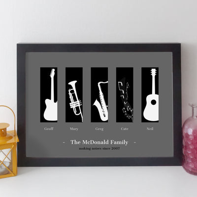 Personalised Family Music Print - contemporary white on black