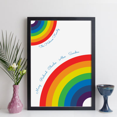 Personalised Family Rainbow Wall Art - script style
