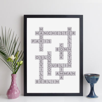 Personalised Travel Crossword Print - Dark Text