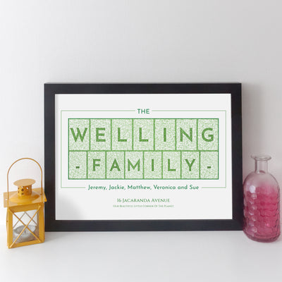 Personalised Family Name Print (dark text style)