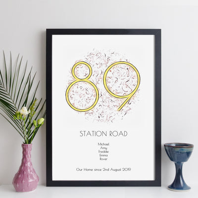 Personalised House Number Print (art nouveau style)