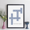 Personalised Family Art Crossword Print - silk style