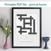 Printable Personalised Family Names Crossword Print
