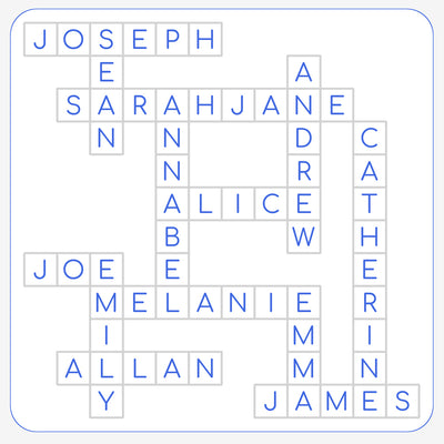 Printable Personalised Family Names Crossword Print - white background