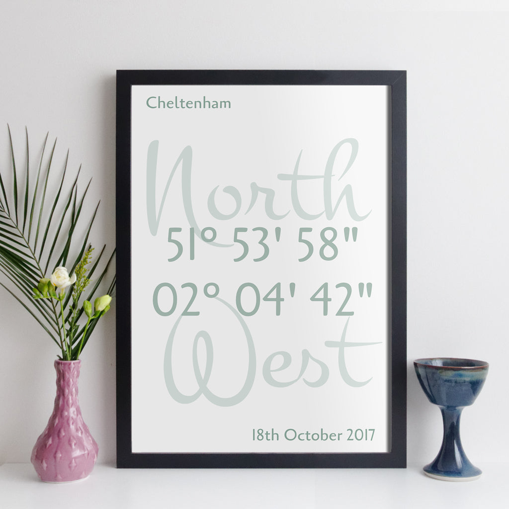 Personalised Coordinates Print (elegant style with white background)