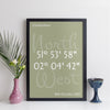 Personalised Coordinates Print (elegant style with colour background)