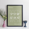 Personalised Coordinates Print (contemporary style with coloured background)