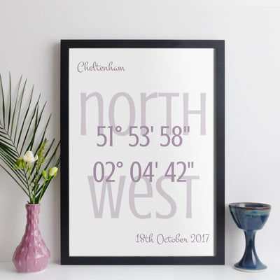 Personalised Coordinates Print (contemporary style with white background)