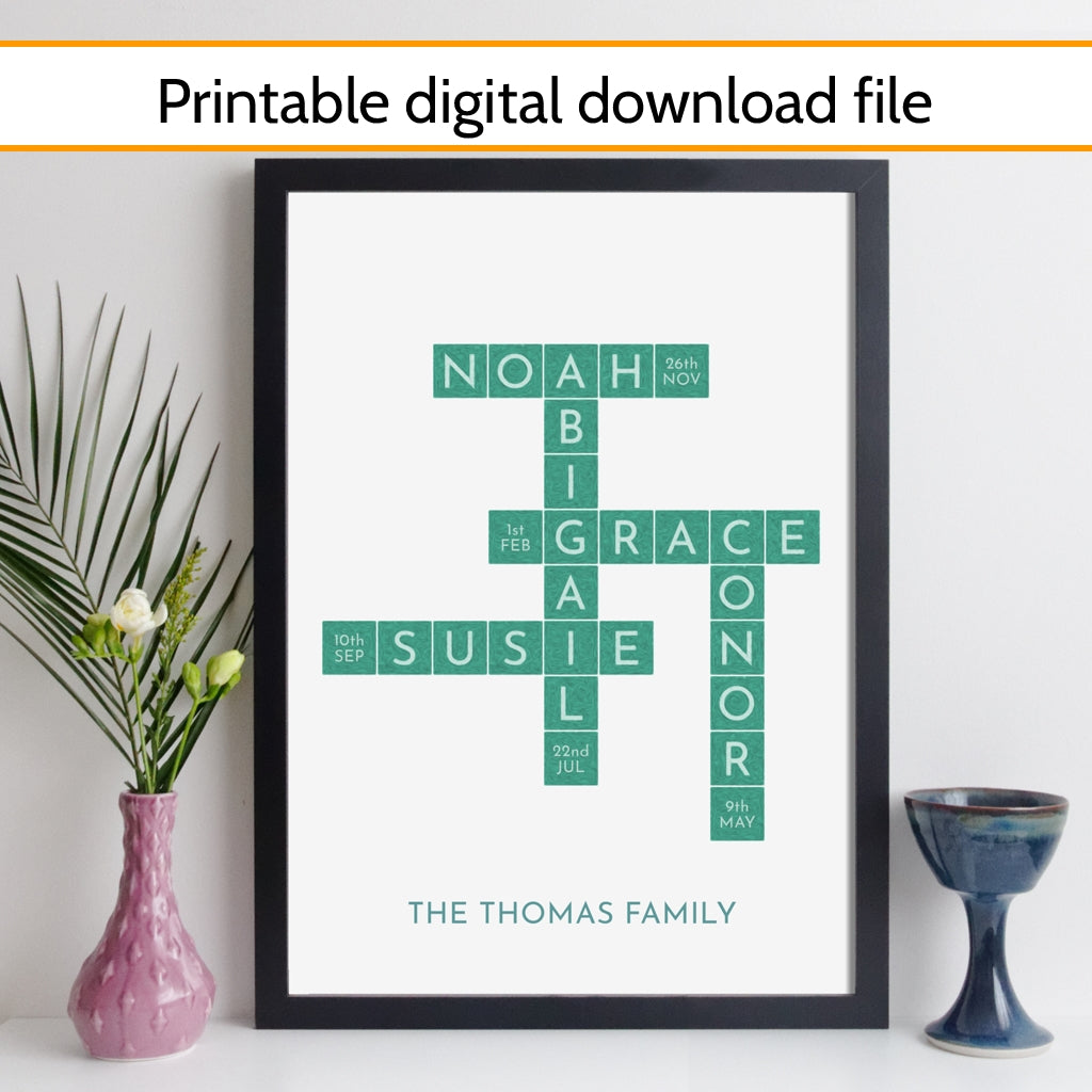 Printable Personalised Family Art Crossword Print With Birthdays