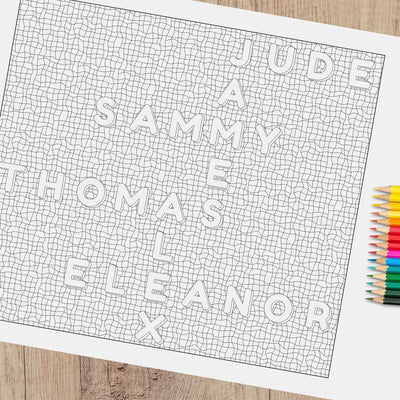 Printable Personalised Family Names Colouring Sheet