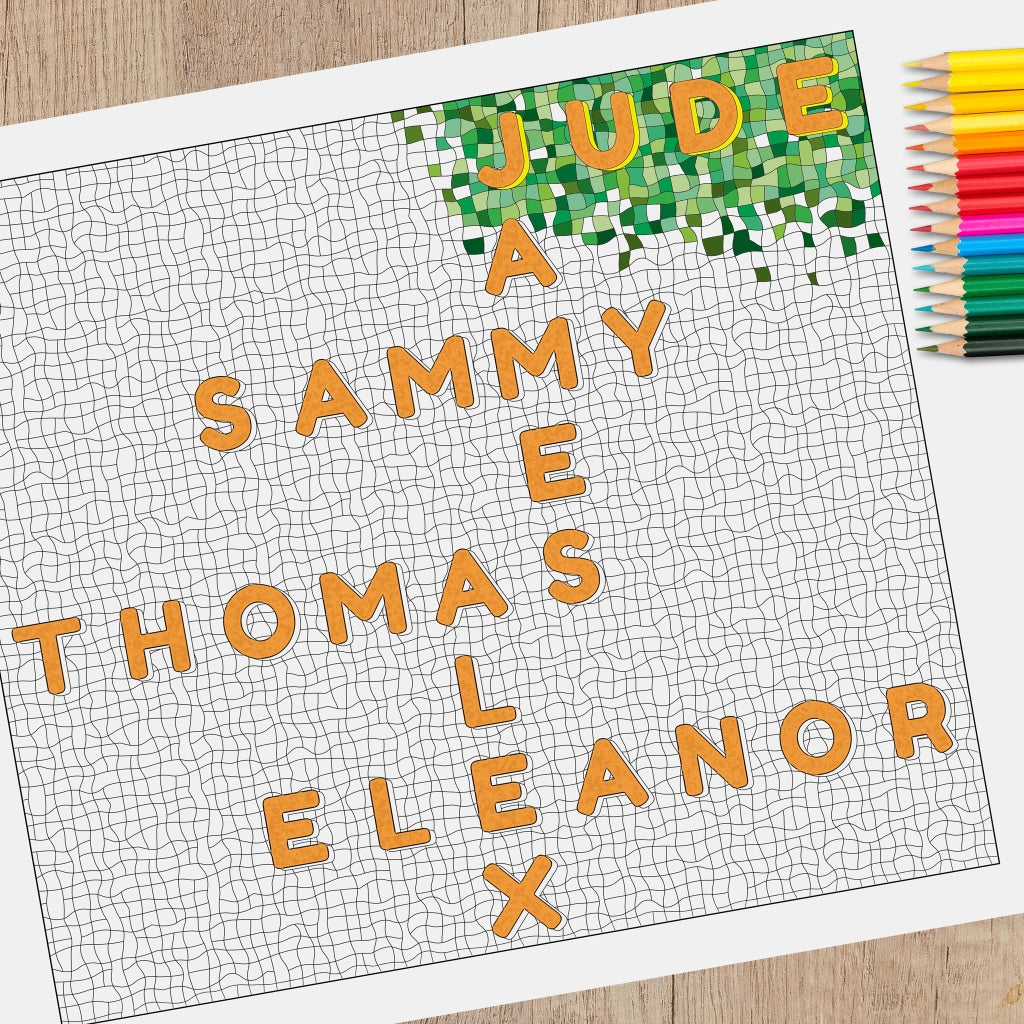 Personalised Family Names Colouring Sheet