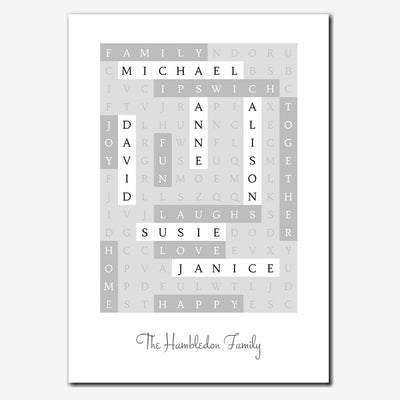 Personalised Family Wordsearch Print - classic style (reverse colours)