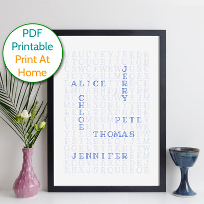 Printable Personalised Family Wordsearch Print - outline style