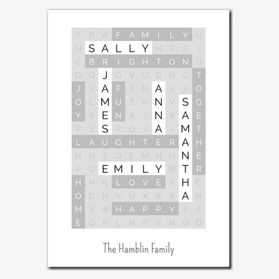 Printable Personalised Family Wordsearch Print - contemporary style