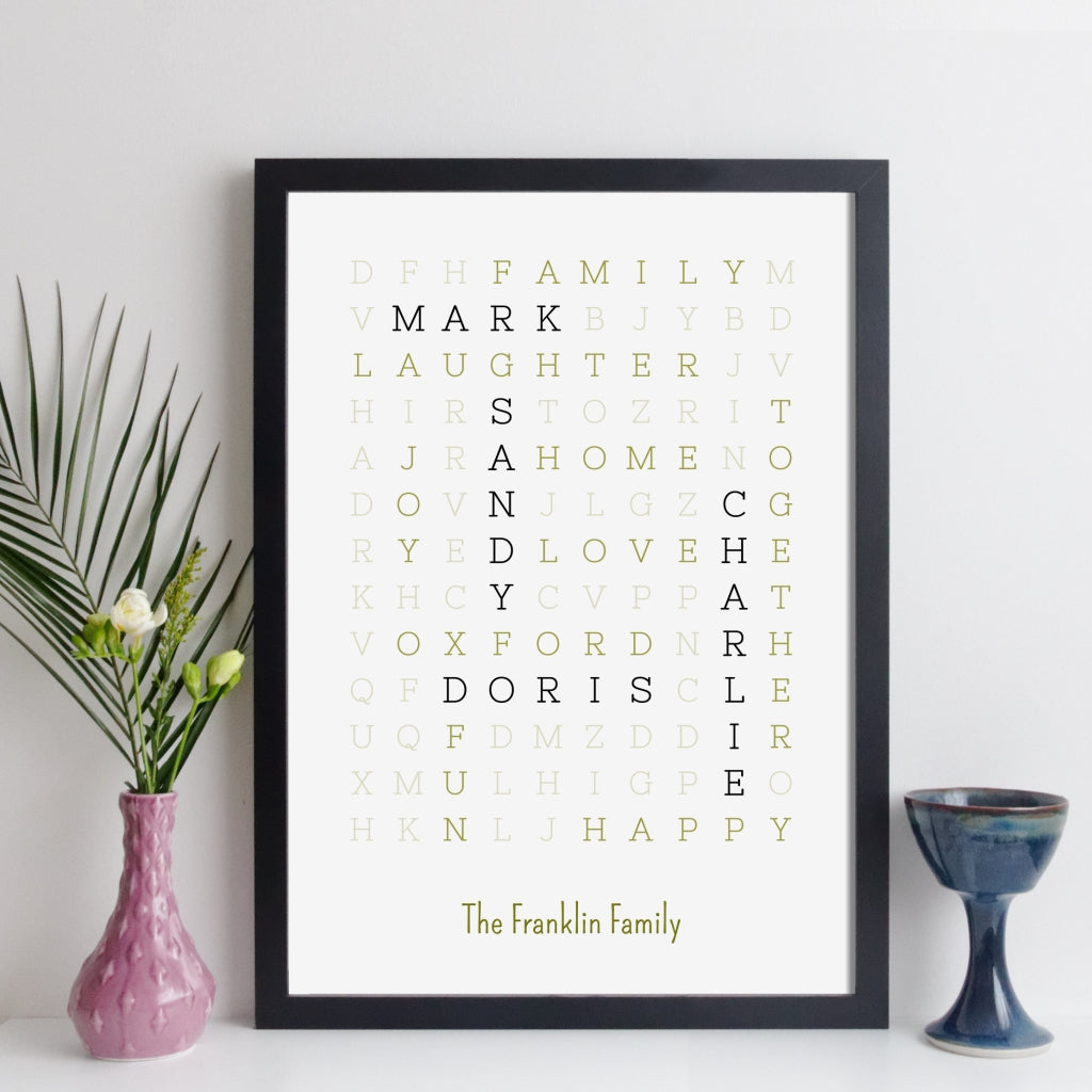 Personalised Family Wordsearch Print - fine style