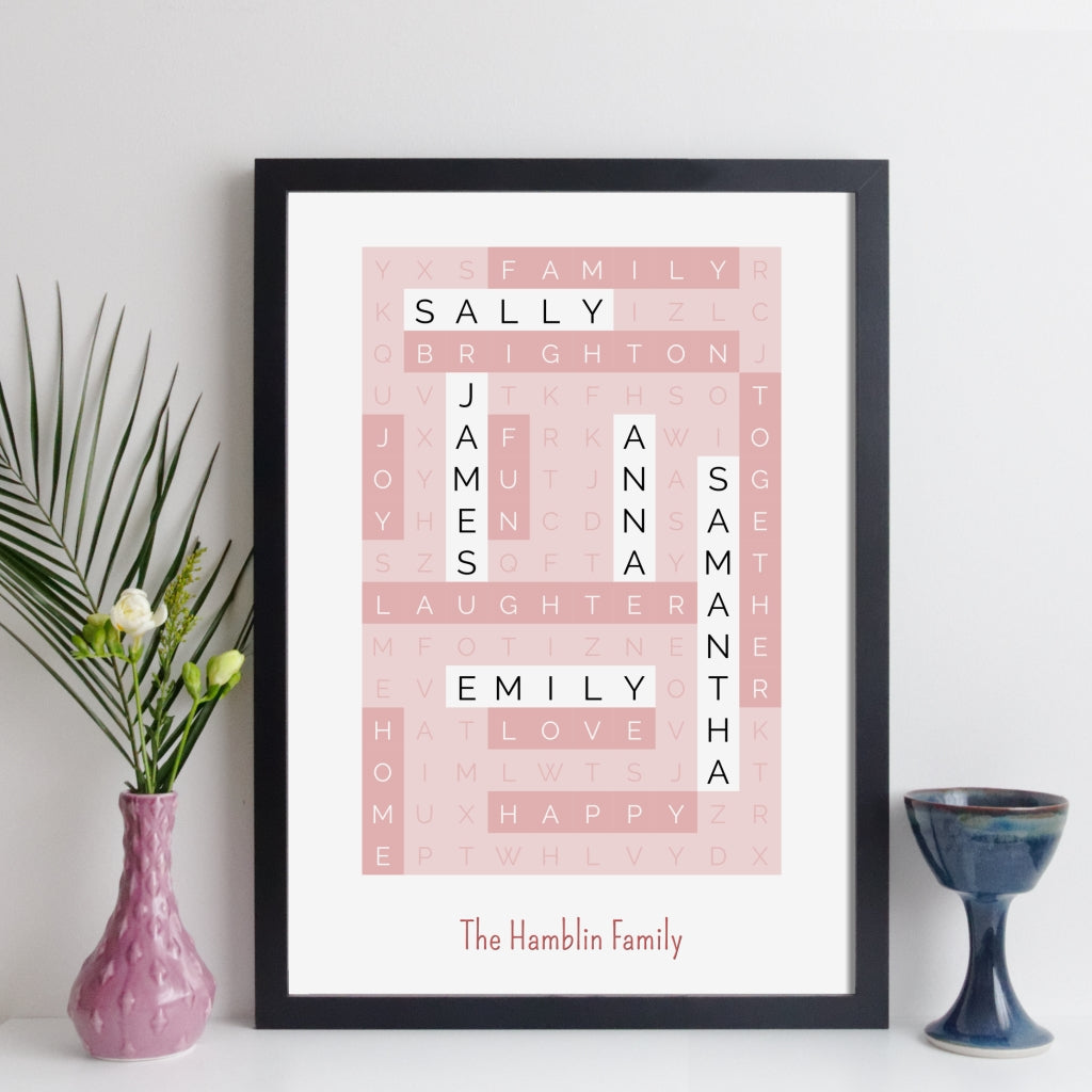 Personalised Family Wordsearch Print - contemporary style (reverse colours)