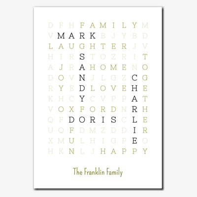 Printable Personalised Family Wordsearch Print - fine style