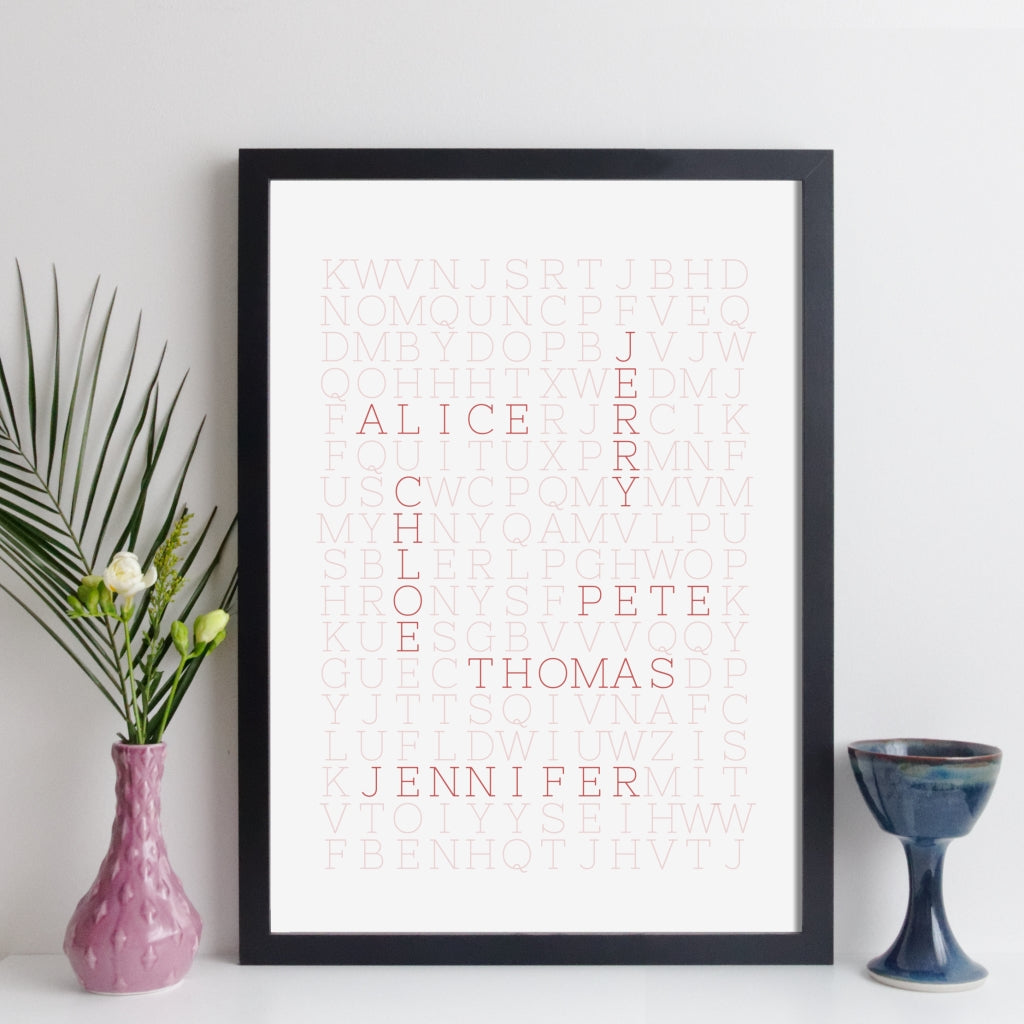 Personalised Family Wordsearch Print - fine line style