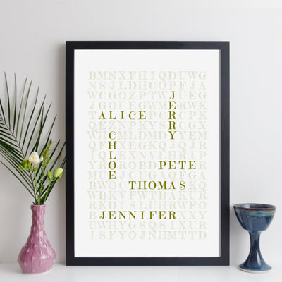 Personalised Family Wordsearch Print - folksy style