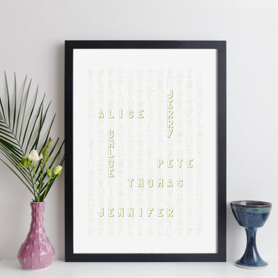 Personalised Family Wordsearch Print - informal style