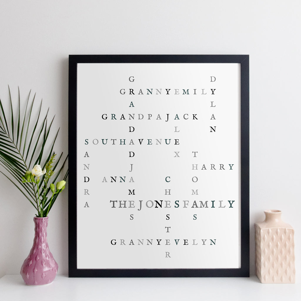 Personalised Family Crossword Print - nostalgia style