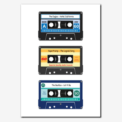 Printable Personalised Cassette Tapes Print - Three