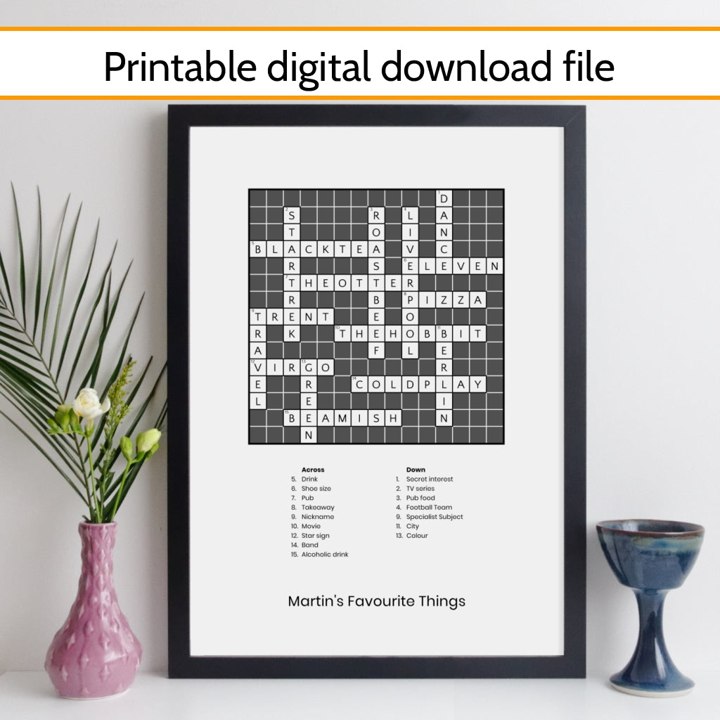 Printable Personalised Traditional Crossword Print With Clues