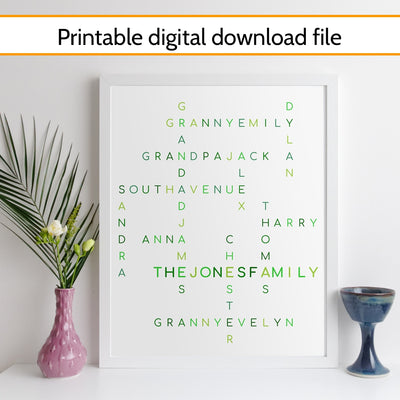 Printable Personalised Family Crossword Print - classic style