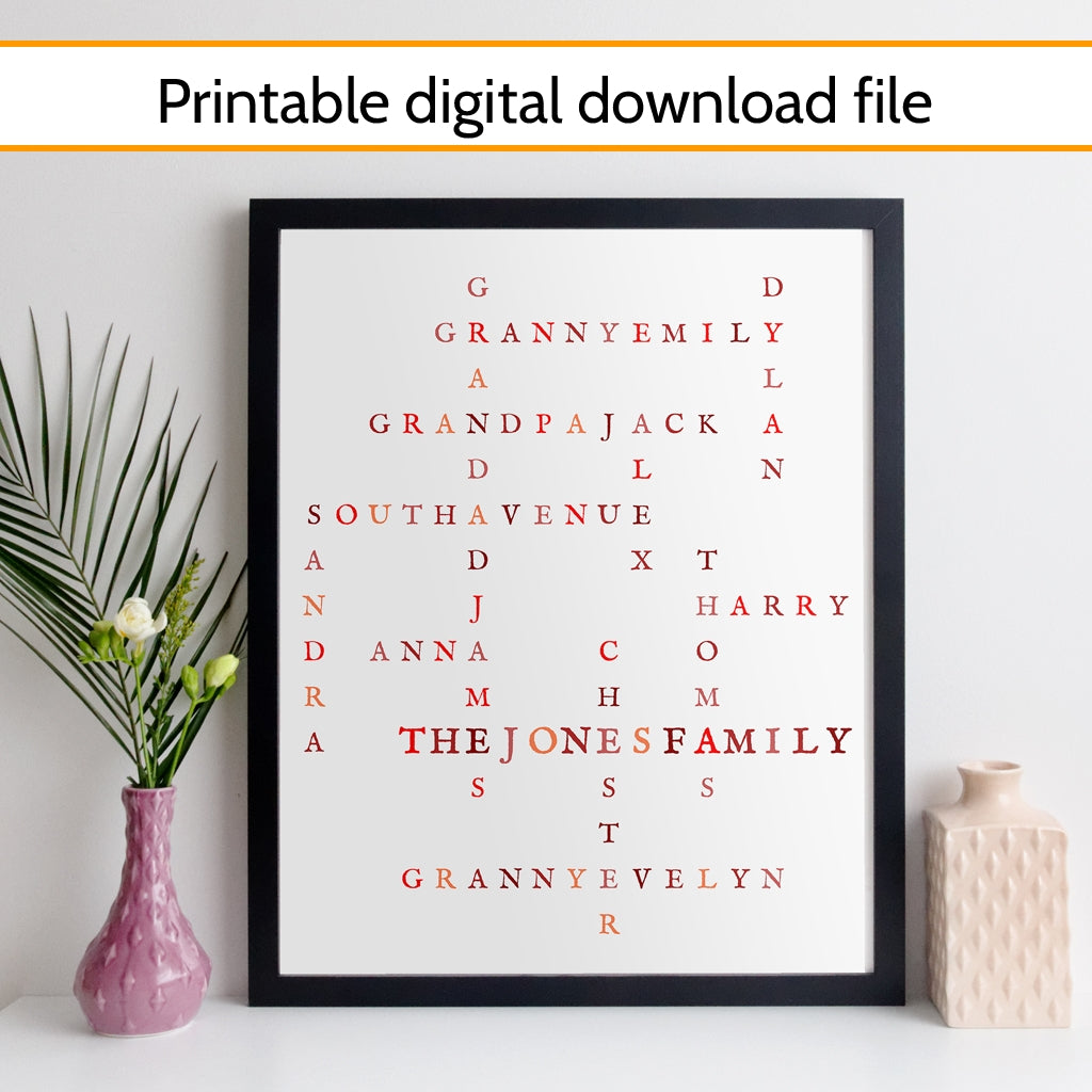 Printable Personalised Family Crossword Print - nostalgia style