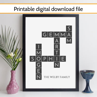 Printable Personalised Family Art Crossword Print – paint style