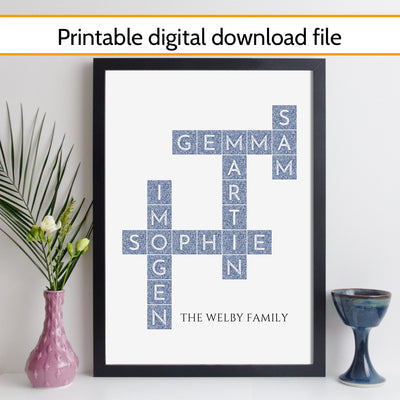 Printable Personalised Family Art Crossword Print - silk style