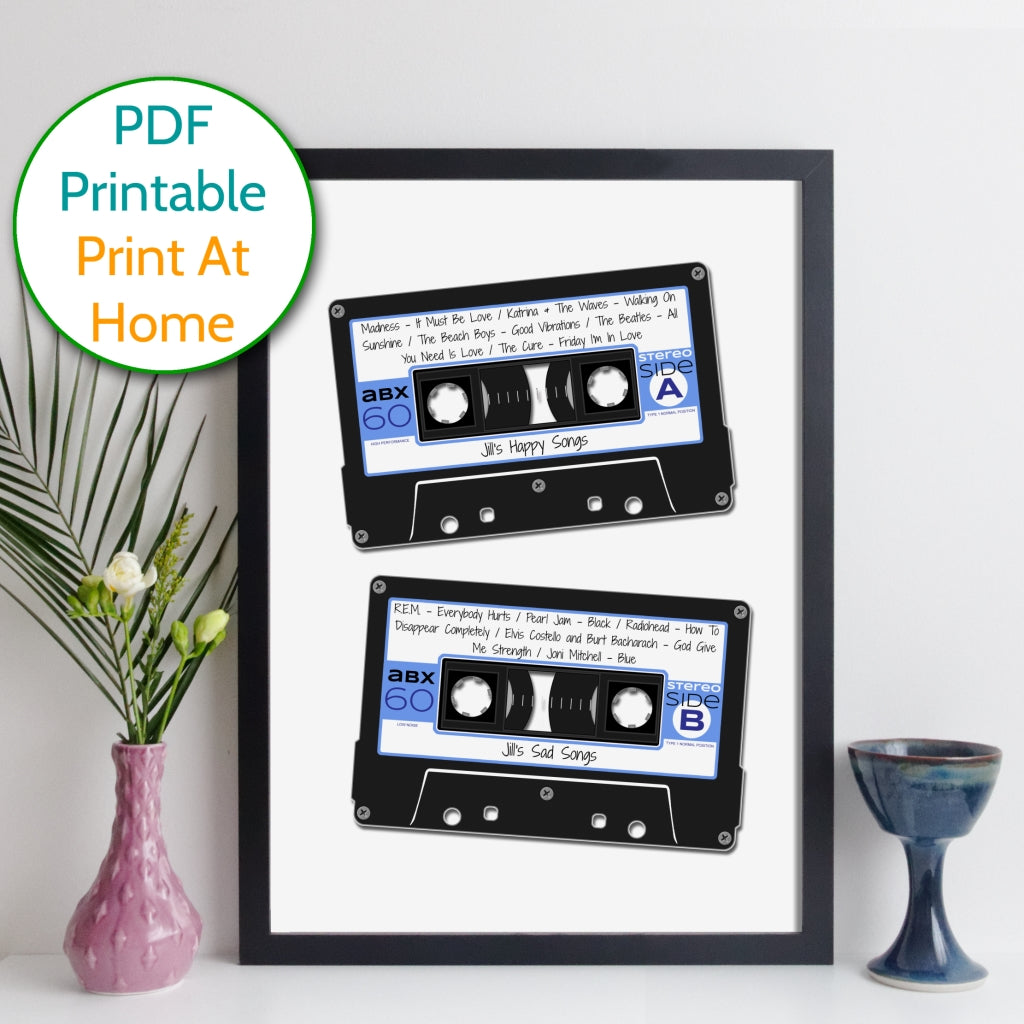 Printable Personalised Cassette Mix Tape Print