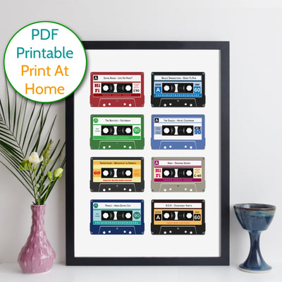 Printable Personalised Cassette Tapes Print - Grid