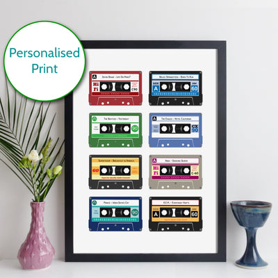 Personalised Cassette Tape Print - Grid