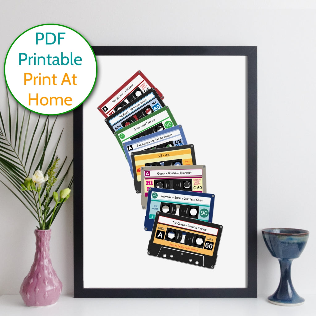 Printable Personalised Cassette Tapes Print
