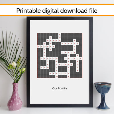 Printable Personalised Traditional Crossword Print