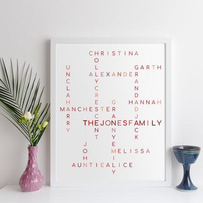 Personalised Family Crossword Print - classic style
