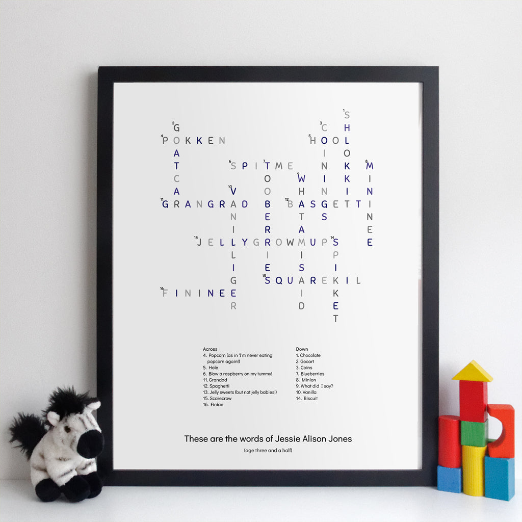Personalised Toddler Words Crossword Print - classic style