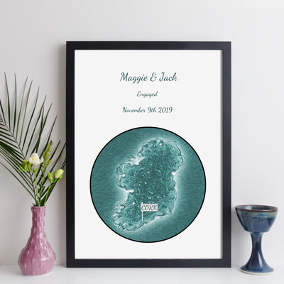 Personalised Ireland Map Print (Script Style)