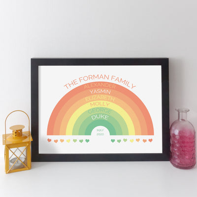 Personalised Rainbow Family Wall Art