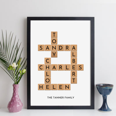 Personalised Family Crossword Print – scrabble style