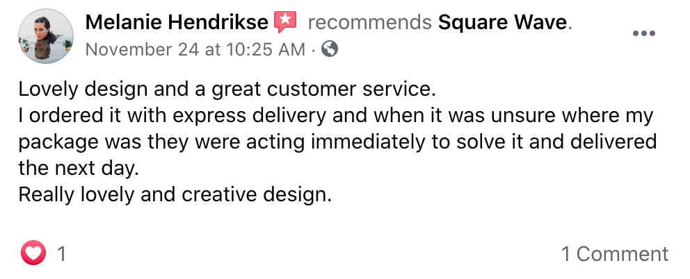 Lovely design and a great customer service
