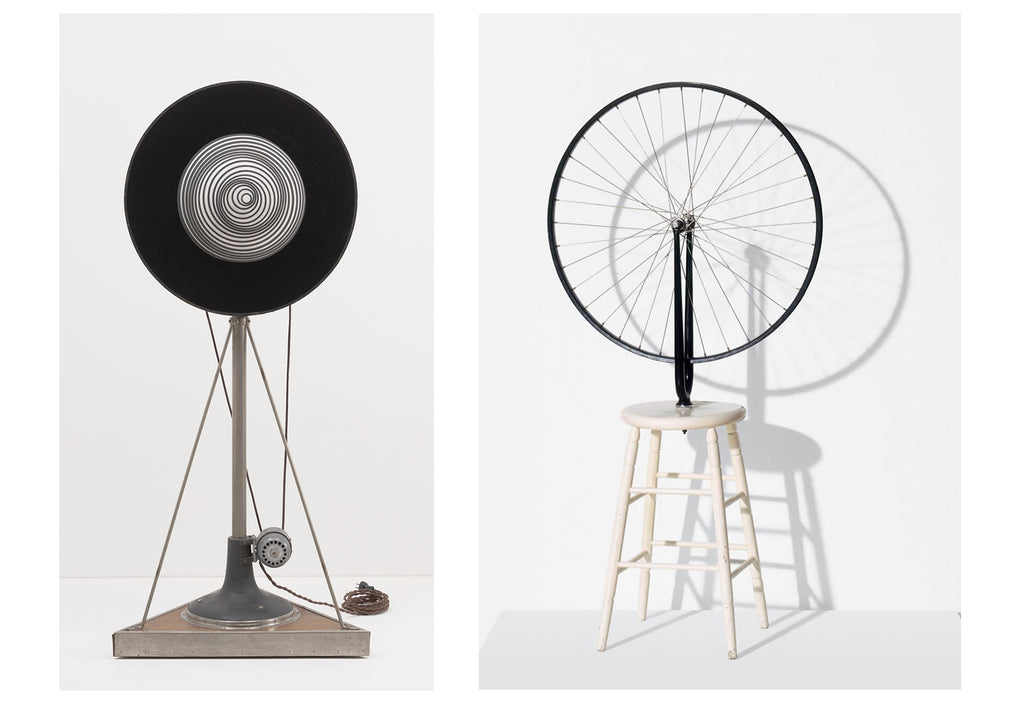 "The first kinetic sculpture is said to be Marcel Duchamp's ""Bicycle Wheel"", 1951."