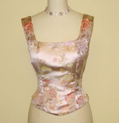 Pale Pink Brocade Corset Top