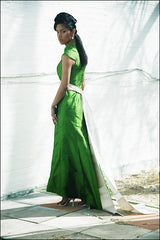 Green Apple Mandarin-Collar Cap-Sleeve Long Shantung Trumpet Dress
