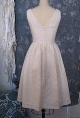 "Cotton Eyelet V-neck ""Audrey"" Retro Wedding Dress"