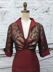 Brocade One-Button Shrug