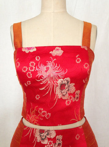 Orange Shantung & Red Brocade Cropped Cami